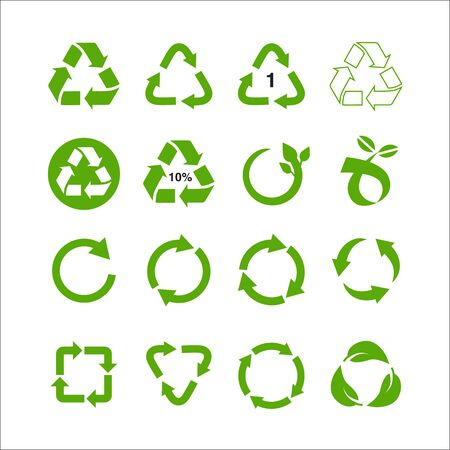Conjunto de ilustración de vector de símbolo de reciclaje aislado sobre fondo blanco