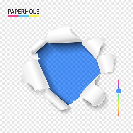 Torn cardboard hole with ripped edge and curly paper pieces. Bright blue color hole in tear off paper on abstract transparent background. Vector illustration