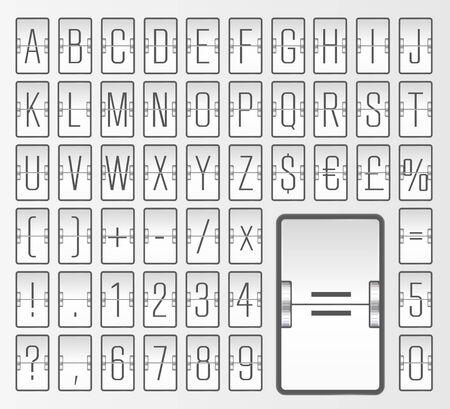 White terminal mechanical scoreboard font to display timetable vector illustration. Airport flip board alphabet for showing flight departure or arrival information. Ilustração