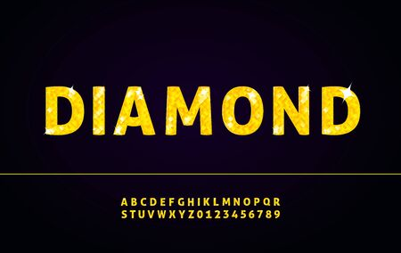 Diamond alphabet font with letters and numbers Illustration