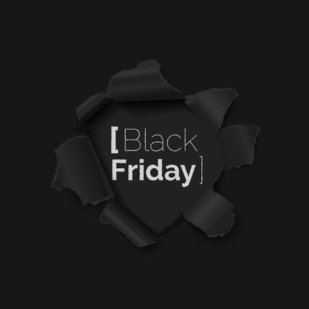 Black Friday sale banner with hole in black paper realistic vector illustration