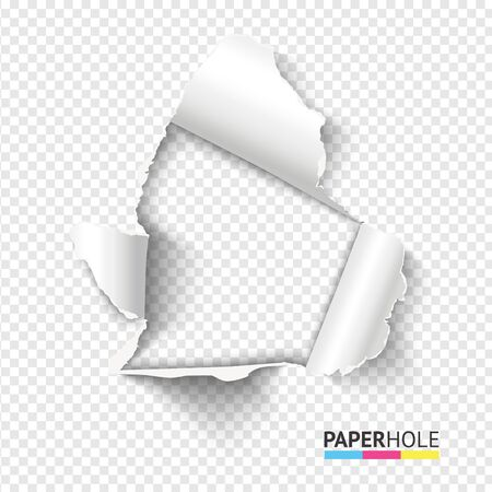 Blank realistic tear paper hole with rip edges on transparent background for Sale banner