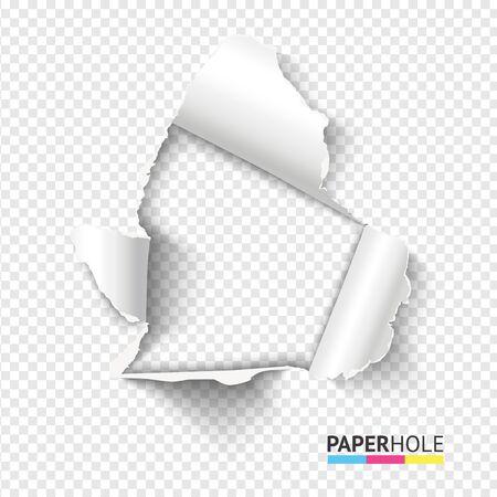 Foro di carta a strappo realistico vuoto con bordi strappati su sfondo trasparente per banner di vendita