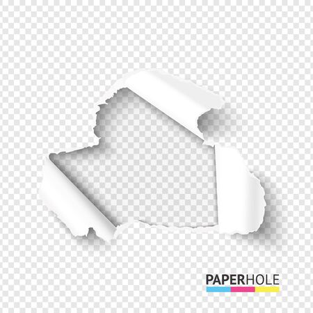 Vector blank hole in teared paper on transparent background. Cardboard hole with torn edge. Vettoriali