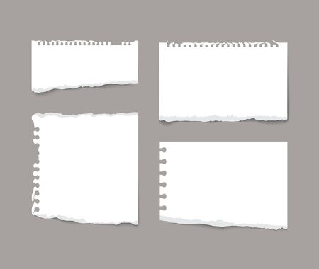 Torn note notebook paper pieces isolated on grey background realistic vector illustration