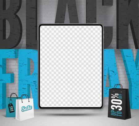 Black friday tablets sale vector banner template Ilustracja