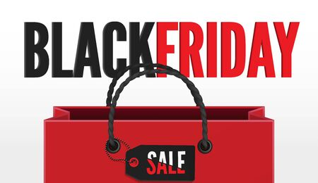 Black friday sale 3d banner template with shopping bag