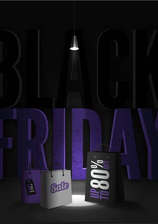 Black friday sale 80 percent discount poster template Illustration
