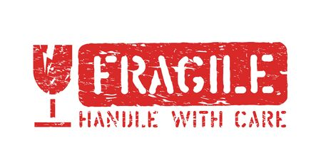 Fragile, handle with care isolated grunge rubber vector box sign stamp