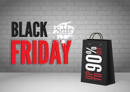 Black friday mega sale vector banner template Vector Illustration