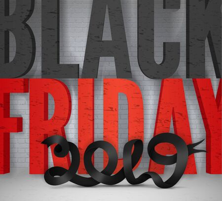 2019 Black friday vector grunge banner template with ribbon
