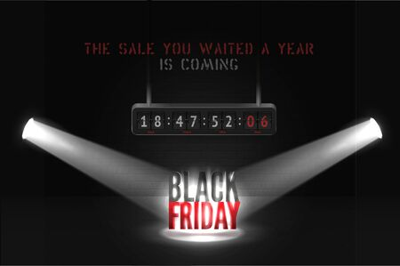 Black friday countdown vector banner template for black friday Ilustracja