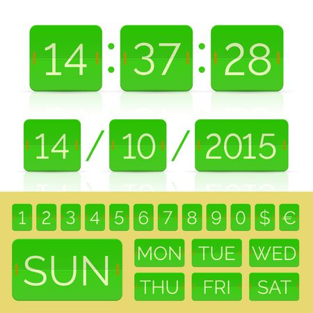 Flip calendar with week days and monthes with flip timer and Green flat scoreboard numbers. Vector EPS10 illustration