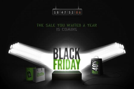 Black friday countdown realistic vector banner template