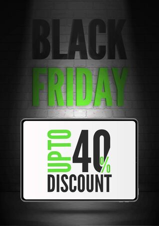 Black friday 40 percent discount vector poster template. Realistic tablet with price reduction offer. Portable devices wholesale advert. Trendy uppercase letters inscription discount banner layout