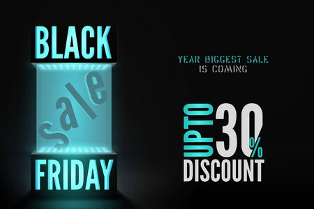 Black friday 30 percent discount offer vector banner template
