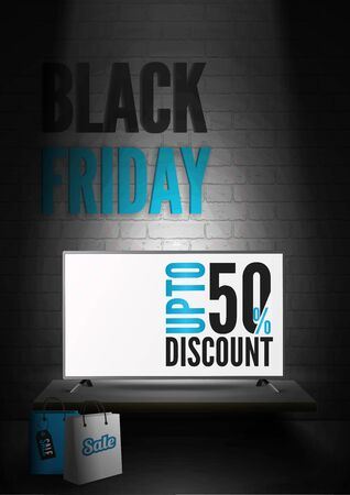 Black friday electronics sale realistic vector banner template  イラスト・ベクター素材