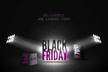 Black friday 70 percent sale vector banner template