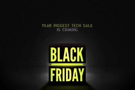 Black Friday tech sale vector banner template. Yellow neon light discount offer on black background. Trendy electronics special price promo with glowing text. Seasonal clearance poster design