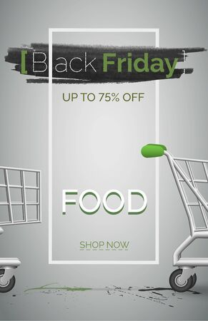 Black friday food sale banner vector template