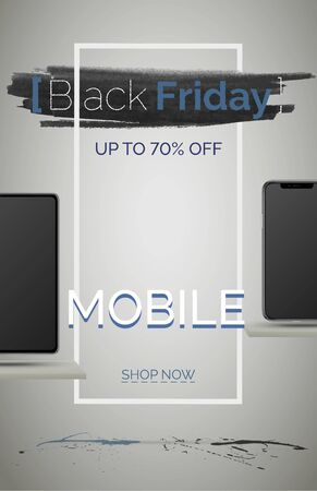 Black friday mobile phone sale banner vector template. Seasonal discount poster. Smartphones shopping with price reduction. Up to 70 percent off. Special offer advertisement. Online shop landing page Ilustracja