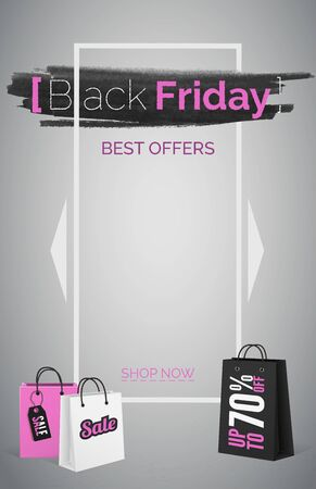Black friday best offers web banner vector template. Shopping bag with sale tag. Big discount advertisement poster layout with pink text. Seasonal sale promo in white frame. Marketing and promotion