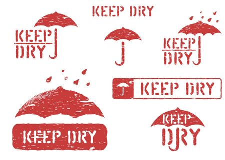 Keep dry, handle with care grungy isolated box signs. Set of red rubber stamps for cargo and logistics. Vector illustration with umbrella and scratches.