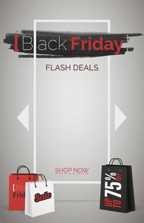 Black friday flash deals web banner vector template. Seasonal discount offer. Up to 75 percent off. Shopping bags 3d design elements. Bargain, good buy. Stylish text on black ink smear background