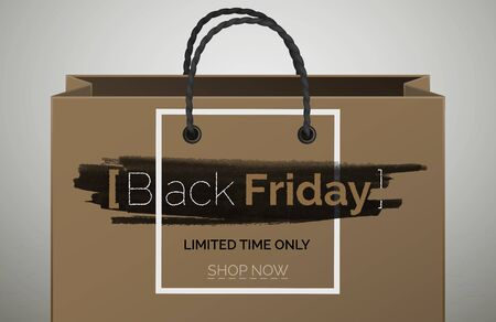 Black Friday beige 3d web banner vector template. Shopping bag with navigation button. Special offer, limited time only. Seasonal discount promo. Sale poster layout. Text on black ink smear background Ilustracja