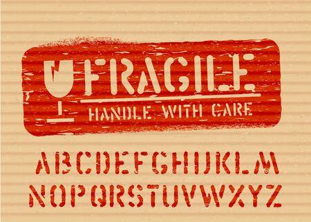 Fragile grunge box sign stamp and alphabet. Vector Ilustracja