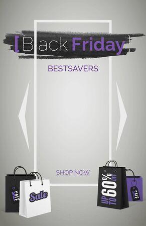 Black friday bestsavers 3d web banner vector template