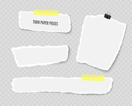 Set of torn paper different shapes scraps with adhesive tape and paper clip isolated on transparent background