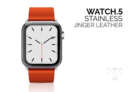 Watch with ginger leather bracelet realistic vector illustration