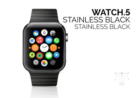 Smart watch with stainless black bracelet realistic vector illustration Ilustracja