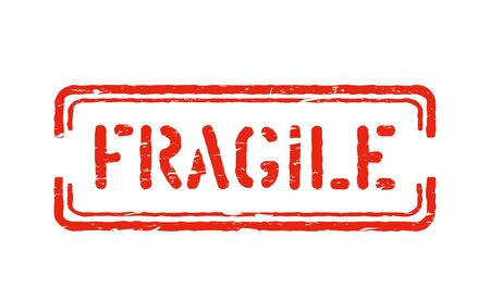 Fragile isolated grunge box sign for cargo, delivery and logistics