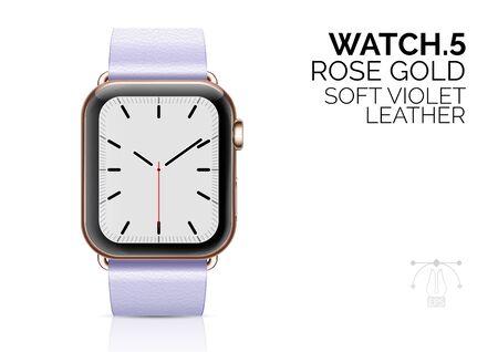 Smart watch with soft violet leather bracelet realistic vector illustration