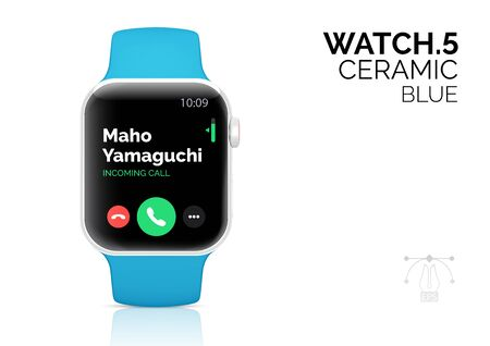 Smart watch with blue bracelet realistic vector illustration