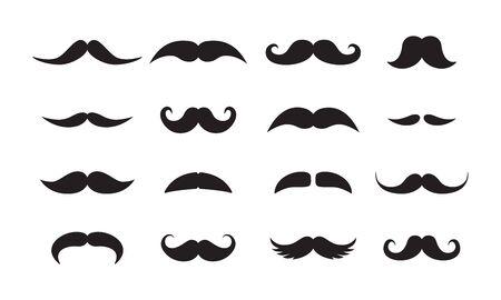 Set di icone vettoriali nere di stili di baffi da uomo