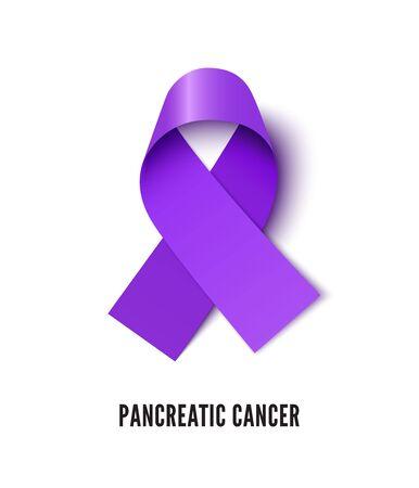Pancreatic cancer awareness ribbon realistic vector illustration