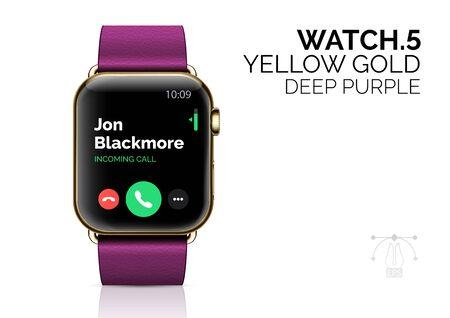 Smart watch with deep purple bracelet realistic vector illustration
