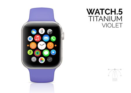 Smart watch with violet strap realistic vector illustration