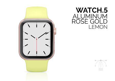 Smart watch with lemon color bracelet realistic vector illustration