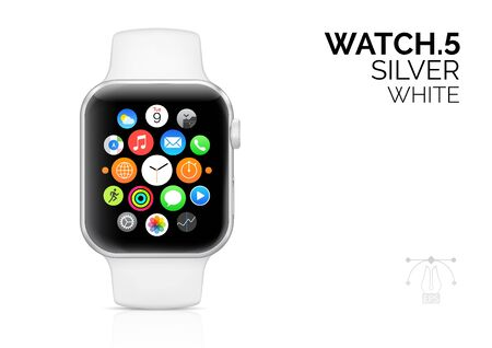 Smart watch with white bracelet realistic vector illustration
