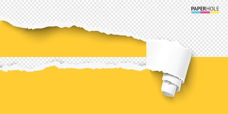 Vector bright banner of torn paper scroll and hole on transparent background for sale ad revealing marketing message.