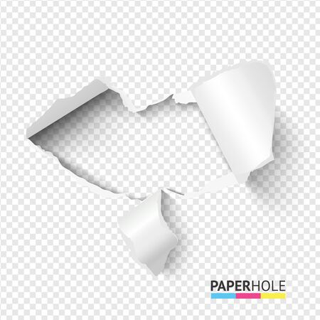 Emptyl tear edge paper hole banner on transparent background for love, kiss, heart vector concepts