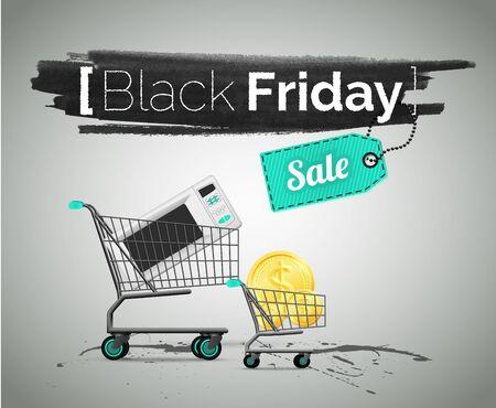Black Friday, household appliance sale vector illustration Ilustracja
