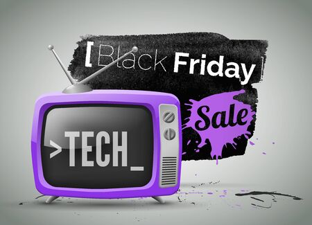 Black Friday, electronics store sale vector illustration. Tech discounts and special offers advertisement. Shopping low prices promotional banner template. Text on black ink and violet paint texture Banco de Imagens - 133735946