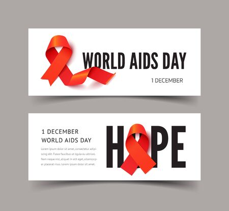 World AIDS awareness banner vector templates set. HIV positive people support campaign. Medical disease tolerance, health care concern concept. Red color ribbons illustration with text space