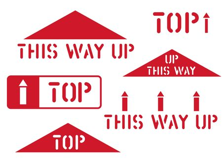 This way up, top, handle with care, fragile retro sticker box sign. Logistics clean rubber stamp set for cargo and logistics. Vector illustration with arrow.