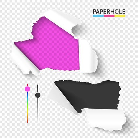 Vector bright set of empty realistic torn paper pieces with rip edges of hole and shadows on a transparent background for sale advertisement banner revealing ad message.
